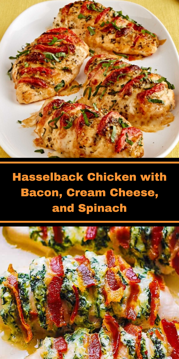 Hasselback Chicken with Bacon, Cream Cheese, and Spinach